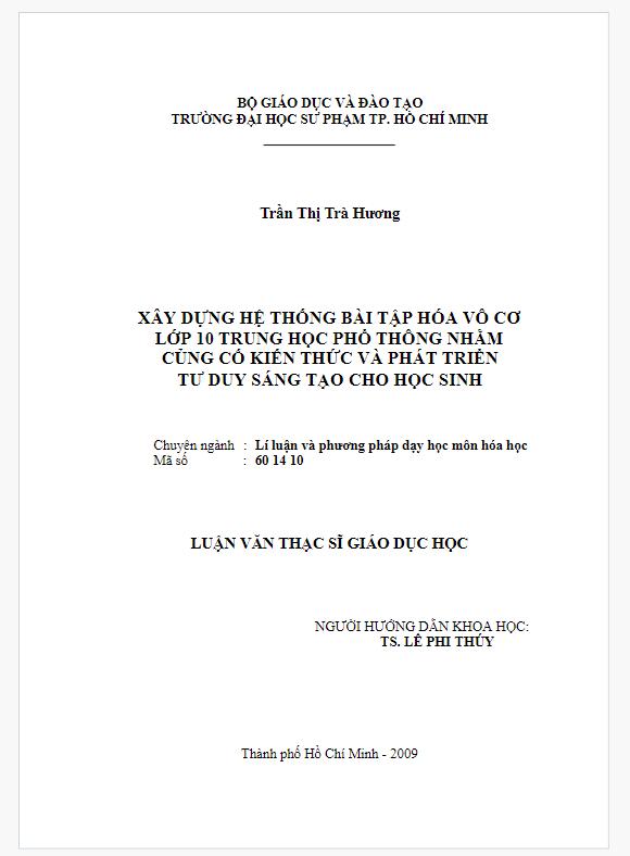 Luận văn thạc sĩ giáo dục học Trần Thị Trà Hương