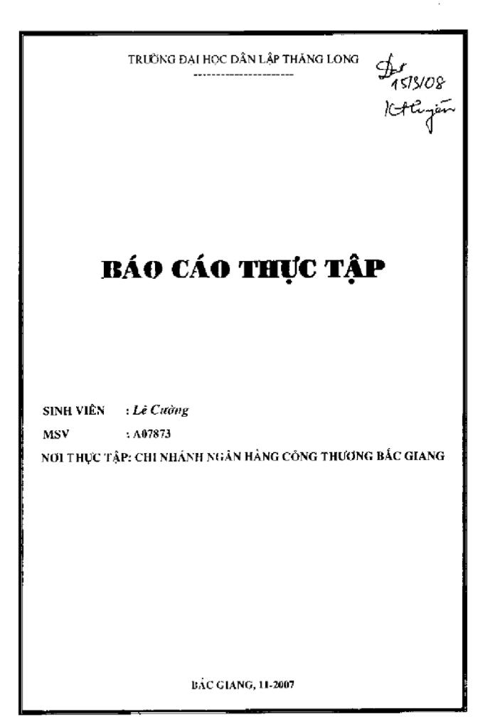 Báo cáo thực tập tại chi nhánh Ngân hàng Công thương Bắc Giang