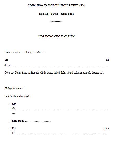 Tài liệu Mẫu hợp đồng cho vay tiền